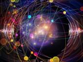 Vlnová funkce série. Uměleckého pozadí z barevných sinus vibrace, světlo a fraktální prvky pro použití s projekty na zvuk ekvalizér hudebního spektra a kvantové pravděpodobnosti
