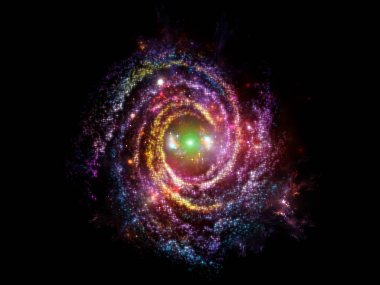 Background of stars and fractal forms on the subject of science, mathematics, education and space.