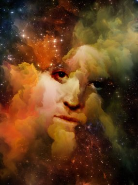 Will Universe Remember Us series. Composition of woman's face, nebula and stars on the subject of Universe, Nature, human mind and imagination stock vector