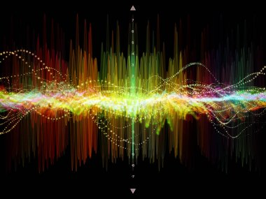 Wave Function series. Design made of colored sine vibrations, light and fractal elements to serve as backdrop for projects related to sound equalizer, music spectrum and  quantum probability