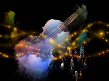 Music Dream series. Arrangement of violin and abstract colorful paint on the subject of musical instruments, melody, sound, performance arts and creativity