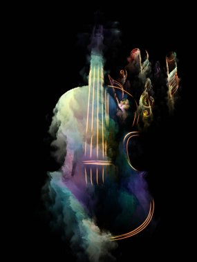 Music Dream series. Backdrop of violin and abstract colorful paint on the subject of musical instruments, melody, sound, performance arts and creativity