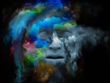 Mind Fog series. Composition of 3D rendering of human face morphed with fractal paint suitable as a backdrop for the projects on inner world, dreams, emotions, imagination and creative mind