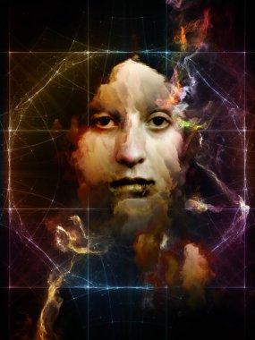 Woman's portrait is surrealist style on subject of memory, identity, inner self. Dust Portrait series. stock vector