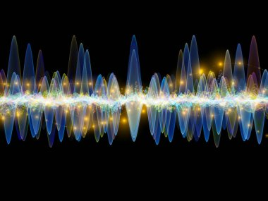 Wave Function series. Background design of colored sine vibrations, light and fractal elements on the subject of sound equalizer, music spectrum and  quantum probability stock vector