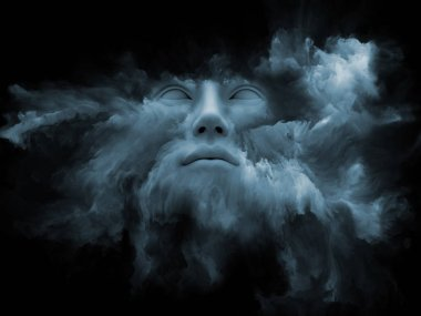 Mind Fog series. 3D rendering of human face morphed with fractal paint suitable as a backdrop for the projects on inner world, dreams, emotions, creativity, imagination and human mind stock vector