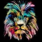 Série zvířecích barev. Lví hlava v barevné barvě na téma fantazie, kreativity a abstraktního umění.