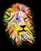 Animal Paint series. Lion head in colorful paint on subject of imagination, creativity and abstract art.