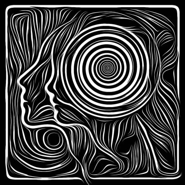 Inner Curves. Life Lines series. Backdrop of  human profile and woodcut pattern to complement designs on the subject of human drama, poetry and inner symbols
