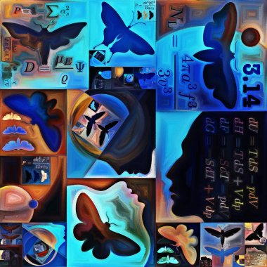 Inner Encryption series. Background of abstract organic forms, art textures and colors on subject of hidden meanings, sacred life, drama, poetry, mysticism and art.