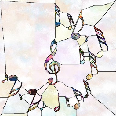 Shards of Design. Unity of Stained Glass series. Arrangement of pattern of color and texture fragments on theme of unity of fragmentation, art, poetry and design