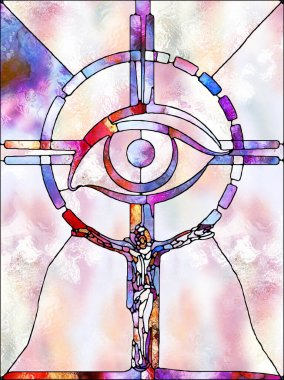 Shards of Light. Cross of Stained Glass series. Composition of organic church window color pattern for subject of fragmented unity of Crucifixion of Christ and Nature