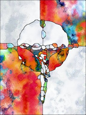 Faith of Color. Cross of Stained Glass series. Composition of organic church window color pattern in association with fragmented unity of Crucifixion of Christ and Nature