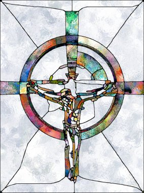Faith of Light. Cross of Stained Glass series. Composition of  organic church window color pattern for projects on fragmented unity of Crucifixion of Christ and Nature