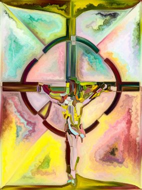 Spectral Color. Cross of Stained Glass series. Abstract arrangement of organic church window color pattern suitable for projects on fragmented unity of Crucifixion of Christ and Nature