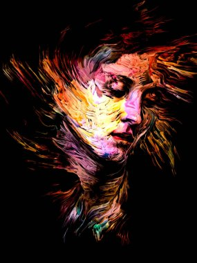 Oily Ink paint portrait of young woman on the subject of personality, creativity and art