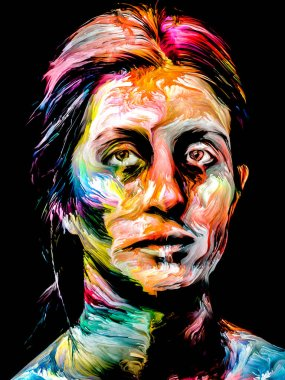 Woman of Color series. Abstract paint portrait of young woman on the subject of creativity, imagination and art.