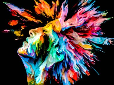 Face of Color series. Colorful abstract closup portrait on the subject of creativity, imaginat
