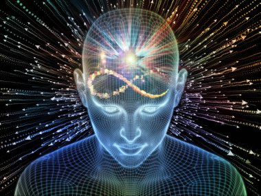 Luminous Thought. Lucid Mind series. Arrangement of 3D rendering of glowing wire mesh human face on theme of artificial intelligence, human consciousness and spiritual AI