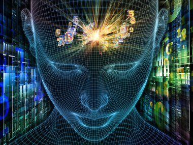 Digital Thoughts. Lucid Mind series. Backdrop of 3D rendering of glowing wire mesh human face for use in projects on artificial intelligence, human consciousness and spiritual AI
