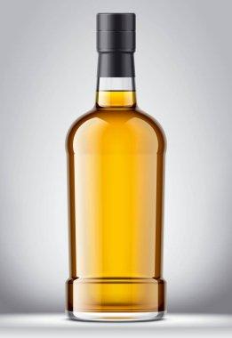 Glass bottle mockup. Foil version. Detailed illustration.
