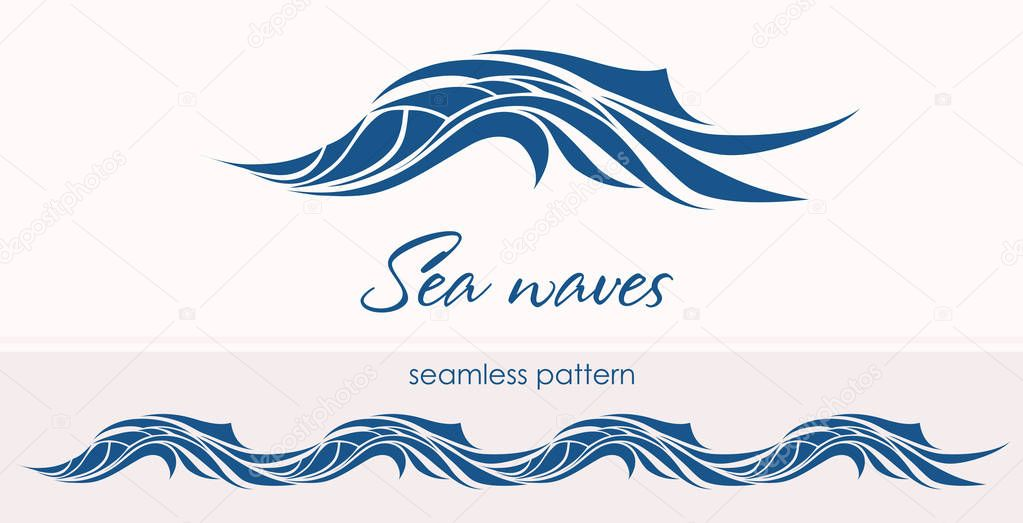 Marine seamless pattern with stylized waves on a light backgroun