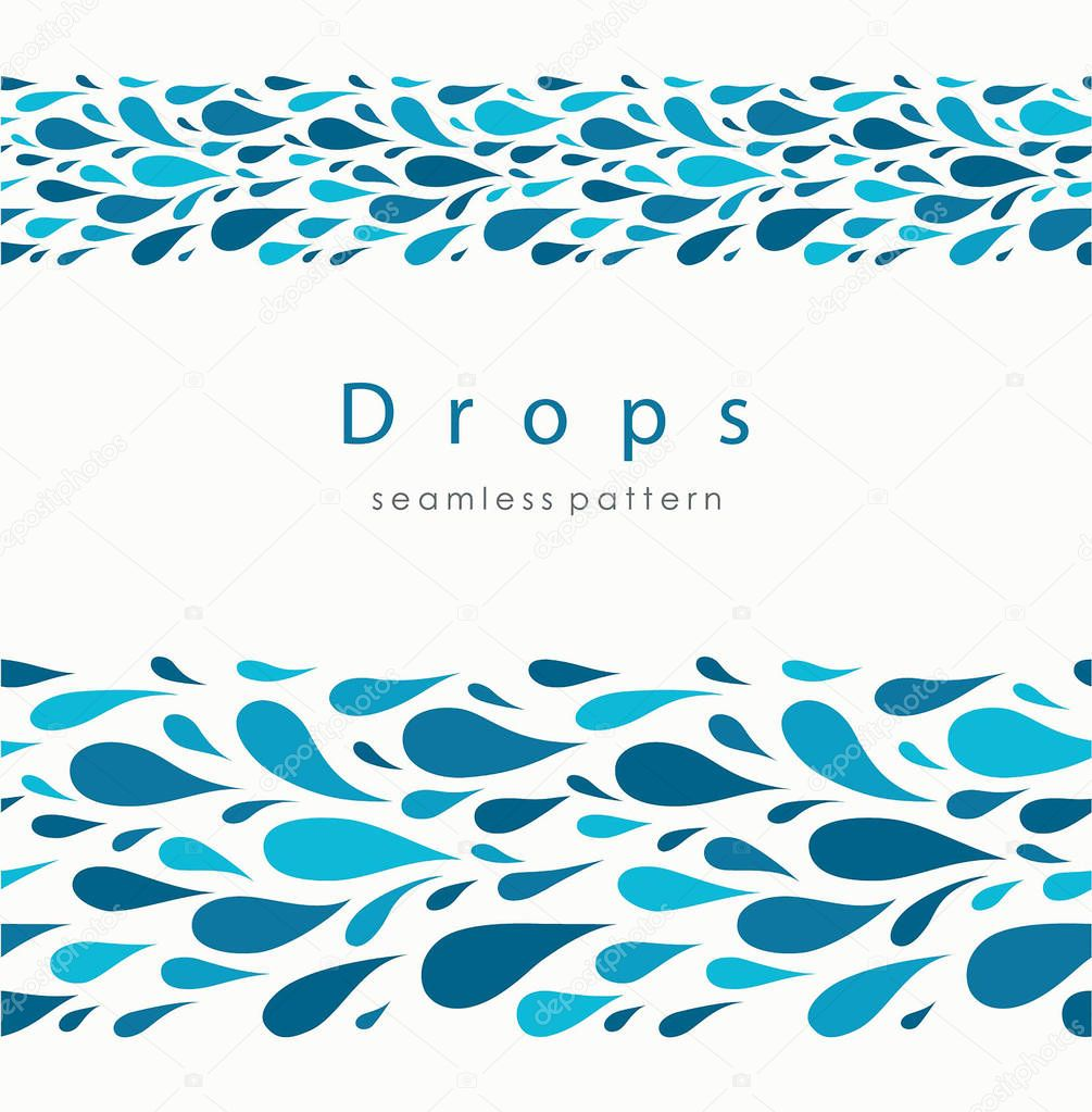 Seamless pattern with stylized drops on a light background. Blue