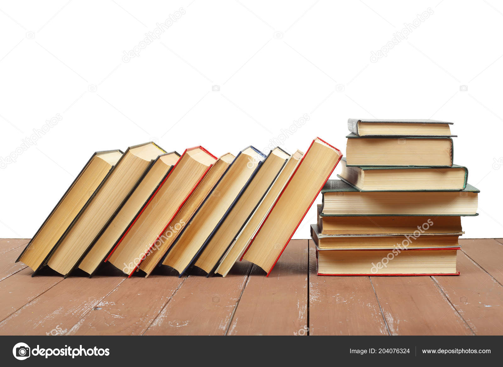 Science Education Horizontal Pile Group Colorfull Books White