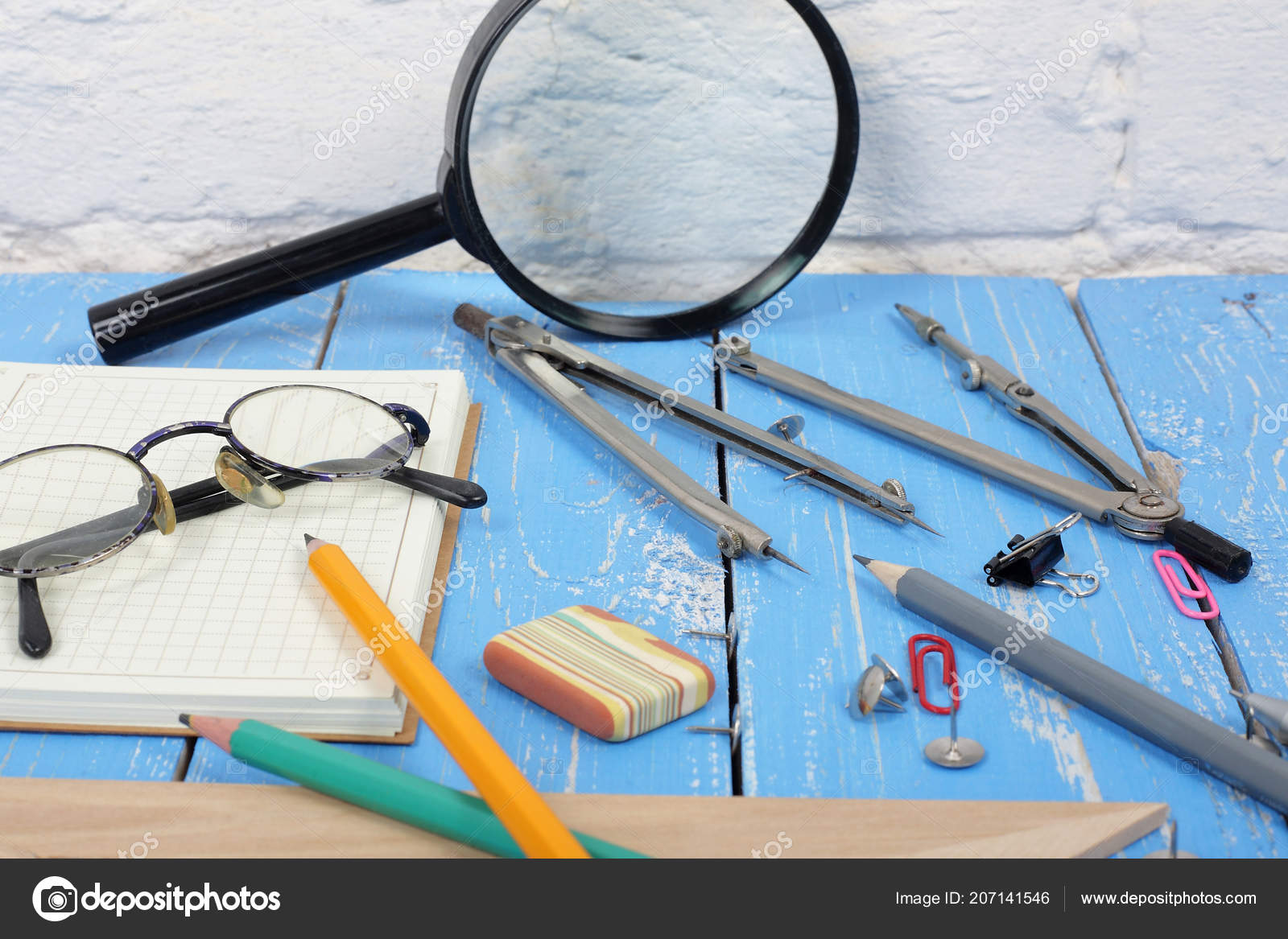 Science Education Desktop Scientist Objects Wooden Wall Background
