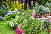 Szép otthon kert, sok virágzó virágok, növények és kerti asztal