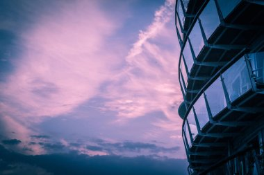 Modern architecture with sunset sky in London, UK