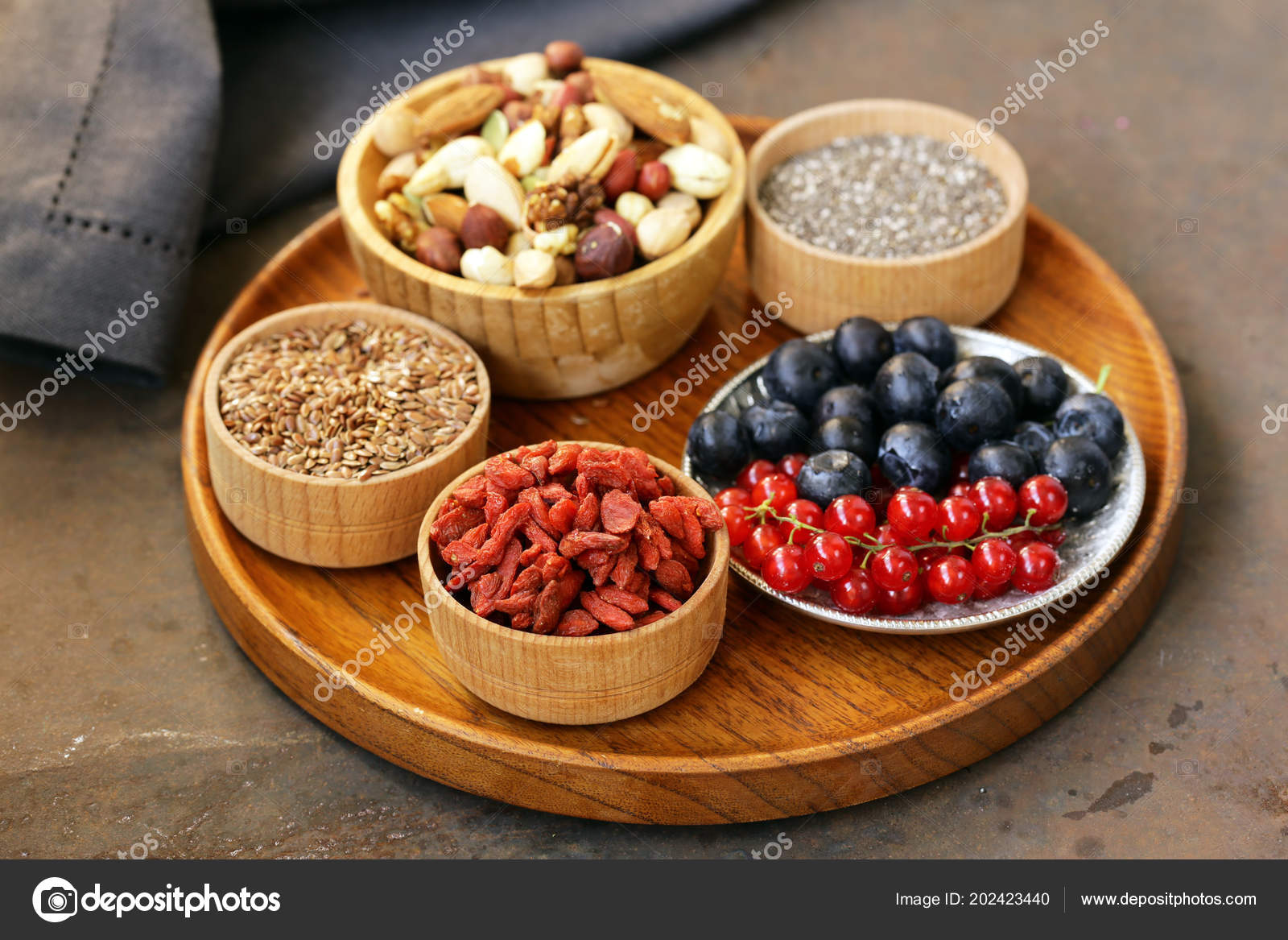 Mix Super Food Goji Berries Chia Seeds Flaxseeds Stock Photo