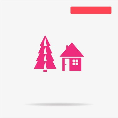 Christmas house icon. Vector concept illustration for design.