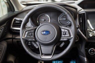 Russia, Izhevsk - August 13, 2020: Subaru showroom. Interior of new modern car Subaru Forester. Famous world brand. Prestigious vehicles.
