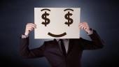 Üzletember gazdaság kapzsi érzelem papír