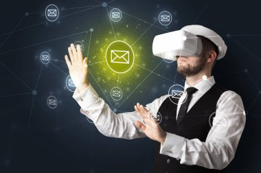 Young businessman in virtual reality glasses organize online network communication stock vector