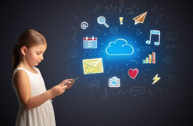 Girl holding tablet with applications concept