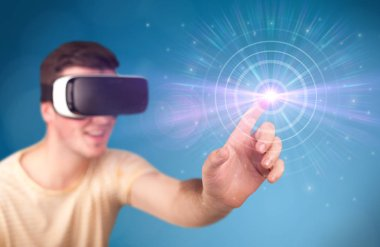 Young impressed man wearing virtual reality goggles with blue circles around his finger stock vector