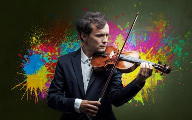 Young classical violinist musician with colorful splotch wallpaper stock vector