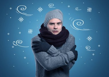 Young hipster frozen boy with doodled snowflakes and windy concept stock vector