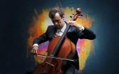 Fotografie Komponist mit Fleck und seinem cello