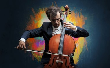 Composer with splotch and his cello
