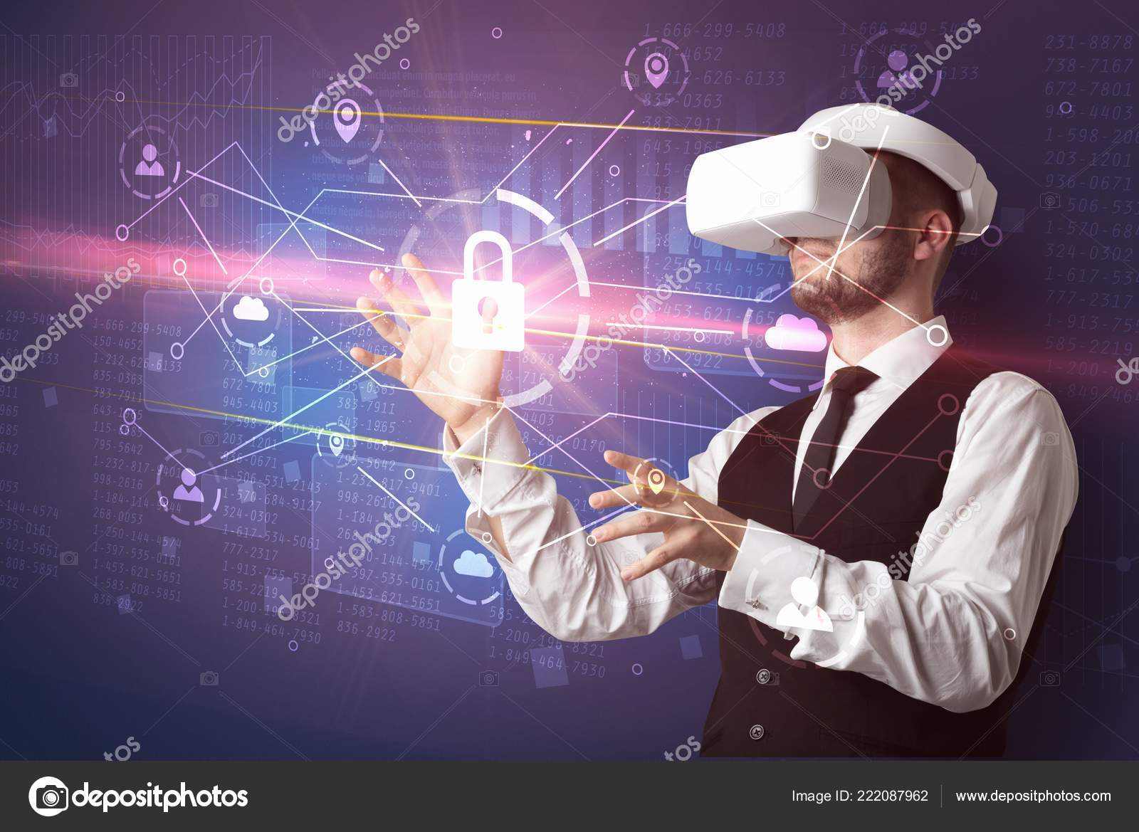 Man with VR goggles unlocking 3D network concept — Stock Photo