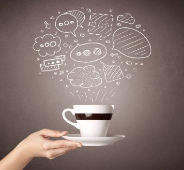 Young female hand holding coffee cup with drawn thought bubbles above it stock vector