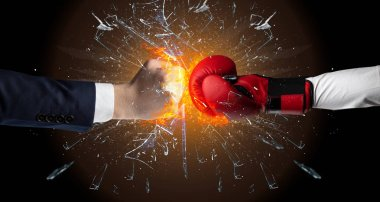 Two hands fighting and breaking a glass into small pieces stock vector