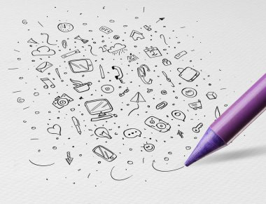 Pencil drawing office symbols and icons concept