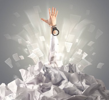 Hand coming out from a huge paper pile stock vector
