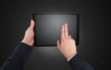 Hand using tablet with no concept and empty space stock vector