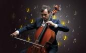 Padající poznámky s klasický hudebník