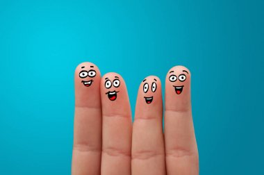 Happy face fingers hug each other stock vector